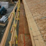 OSHA Acknowledged work platform for workers installing first courses of skip-sheathing.