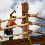Workers can easily maneuver trusses from a safe distance.