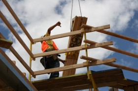 Safe platform to recieve and install trusses