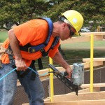 Roof nailing is accomplished safely and efficiently.